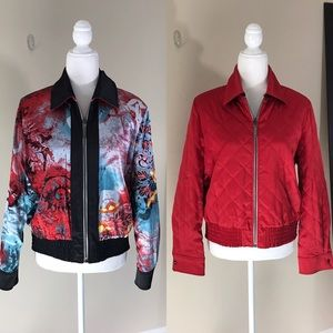 St. John Reversible Silk Bomber Jacket Size Small